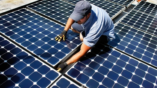 Solar panel installation on the roof of a home in Gainesville, Florida.