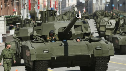 Russian Army T-14 Armata tanks in the annual Victory Parade at Red square, Moscow last May.