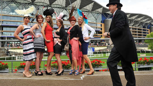 Racegoers at 'Royal Ascot', at Ascot Racecourse, UK