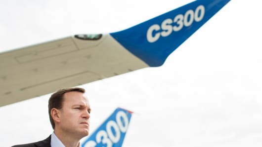 Fred Cromer, president of Commercial Aircraft at Bombardier Inc., stands beside a CS300 C Series aircraft as he takes questions from the media during preparations ahead of opening at the 51st International Paris Air Show in Paris, France