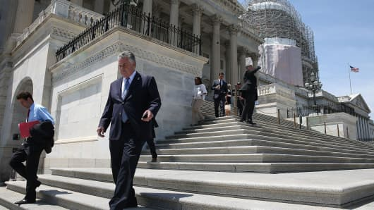 Members of the House depart for the weekend after a series of critical votes at the US Capitol.
