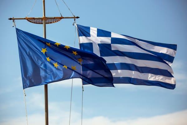 A Greek and European Union flag