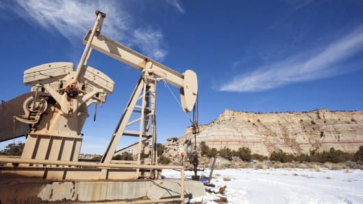 An oil pump in northern New Mexico.