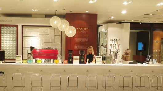 Shoppers are offered a complimentary coffee from Pirch's Bliss Café when they enter the store.