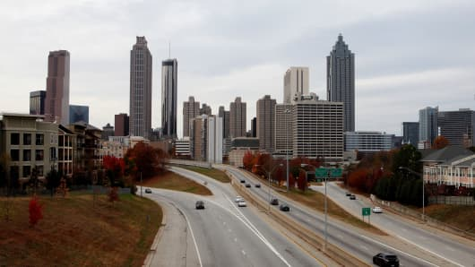A skyline view of Atlanta