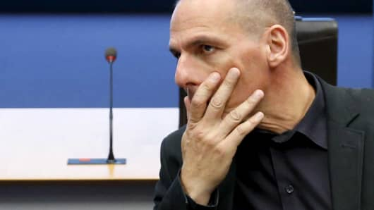 Greek Finance Minister Yanis Varoufakis at an euro zone meeting in Luxembourg, June 18, 2015.