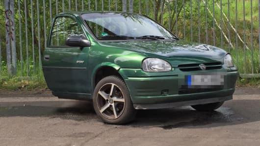 Opel Corsa cut in half