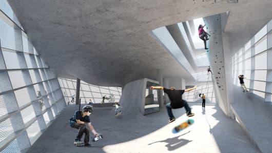 Inside design of the Urban Sports Center, Folkestone