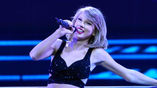 Taylor Swift performs during 'The 1989 World Tour' night 1 at Lanxess Arena on June 19, 2015 in Cologne, Germany.