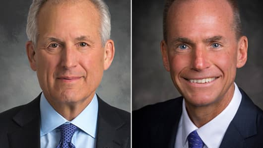 W. James McNerney and Dennis Muilenburg of Boeing