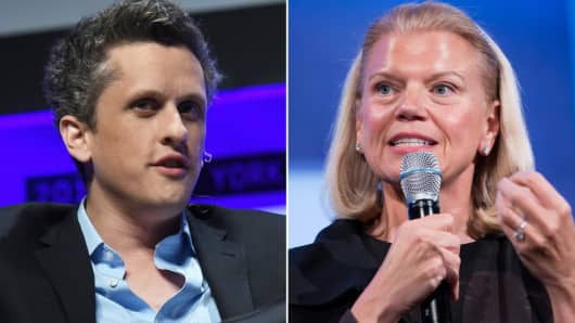 Aaron Levie, CEO of Box and Ginni Rometty, CEO of IBM. IBM and Box to team up on cloud offerings.