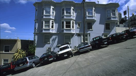 Cars parked on a steep slope in San Francisco. Car theft is on the rise in California with the Bay area topping the list.