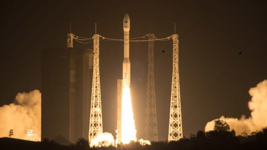 A rocket carrying the Sentinel-2A lifts off from Europe's Spaceport in Kourou, French Guiana, on June 23, 2015.
