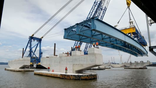 The American Society of Civil Engineers estimates that some $3.6 trillion in infrastructure repairs will be needed by 2020. Above, steel girders for the new Tappan Zee Bridge is moved into position in Nyack, New York, June 17, 2015.