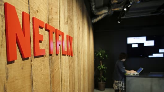 The Netflix logo is displayed on a wall at the company's Japan office in Tokyo.
