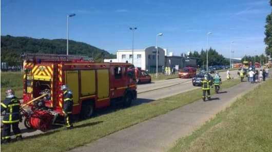 Emergency services at the scene of the alleged attack