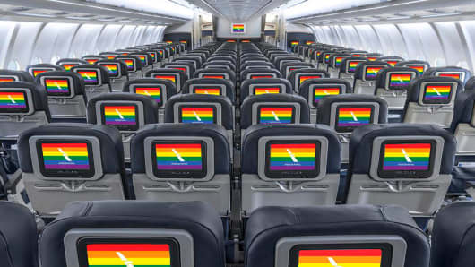 American Airlines gay pride rainbow flag