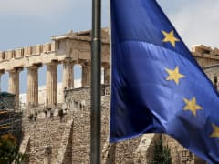 A European Union flag at the Acropolis Athens, Greece