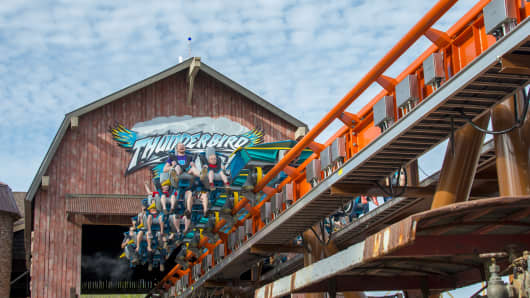 The Thunderbird roller coaster at Holiday World in Santa Claus, Ind.