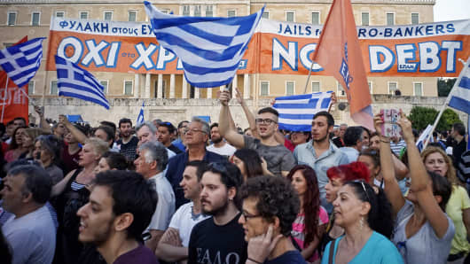 Demonstrators are shown during a rally in Athens, Greece, June 29, 2015.