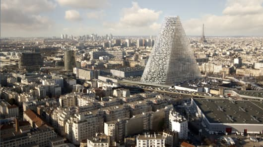 A mock-up of the Tour Triangle, Paris' first skyscraper approved in over 40 years.