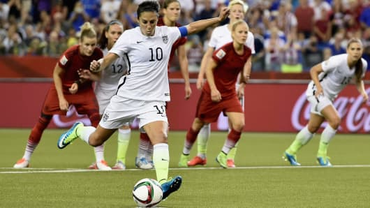 Carli Lloyd of the United States scores the opening goal from a penalty in the FIFA Women's World Cup 2015 Semi-Final Match at Olympic Stadium on June 30, 2015 in Montreal, Canada.