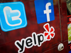 Social media logos for Tumblr, Facebook and Yelp.