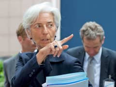 Christine Lagarde pointing