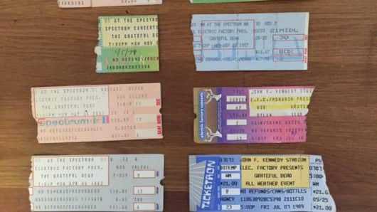Bob Pisani's ticket stubs from past Grateful Dead shows.