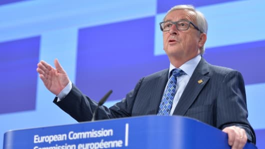 Jean-Claude Juncker speaks during a media conference at EU headquarters in Brussels.