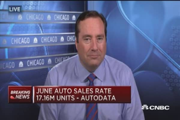 June auto sales rate 17.16M units: Autodata