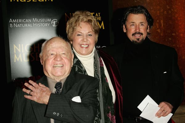 Actor Mickey Rooney, his wife Jan Rooney and son Chris Rooney.