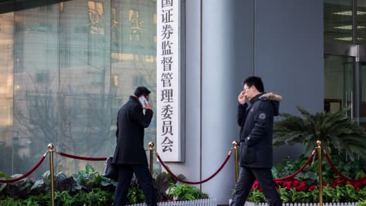 The entrance to the China's Securities Regulatory Commission.
