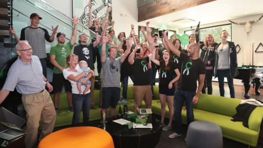 The Chive Charities team celebrates reaching the monetary goal for Lucy Pate, a young lady born with King's Syndrome.