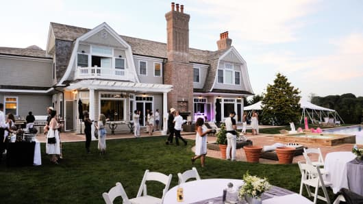 An outdoor party at a home in Sagaponack, New York.
