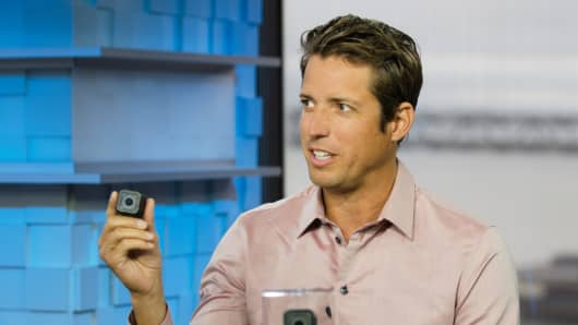 Nick Woodman, CEO, GoPro, showing the Hero4 Session