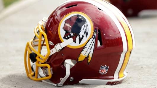 A Washington Redskins helmet