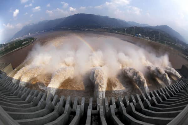 Flood water is released from spillways of the Three Gorges Dam