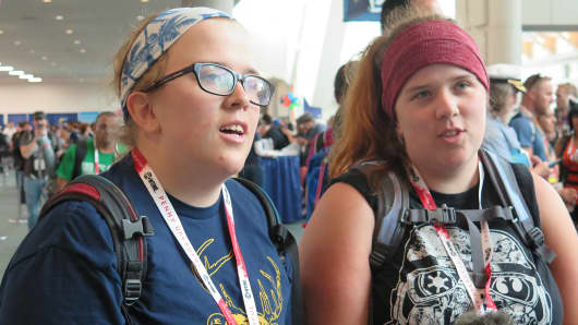 Holly Huggins, left, and sister Cozy Huggins attend Comic-Con International 2015 in San Diego.