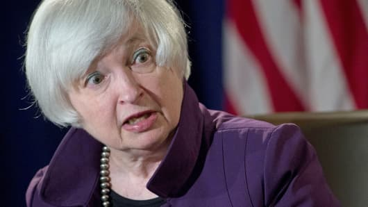 Federal Reserve Chair Janet Yellen speaks during a news conference following a Federal Open Market Committee (FOMC) meeting in Washington, June 17, 2015.