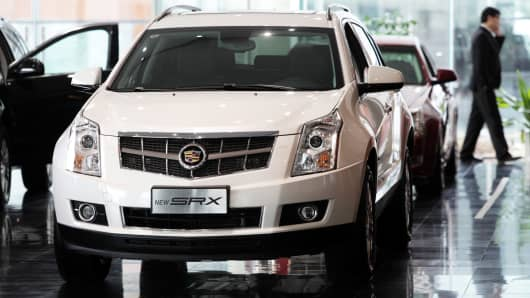 A General Motors Cadillac SRX at a dealership in Shanghai, China.