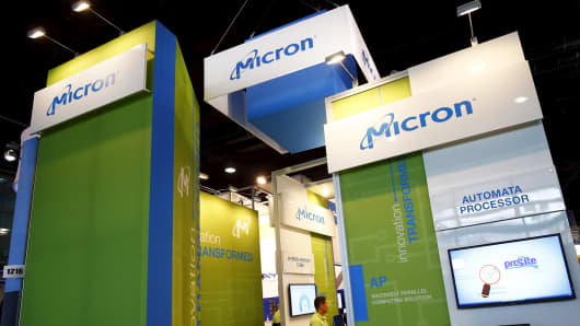 A booth of Micron Technology at an industrial fair in Frankfurt, Germany, July 14, 2015.