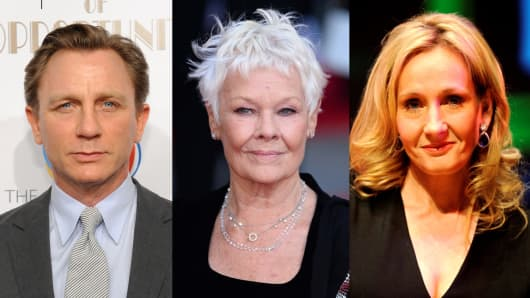 Daniel Craig, Dame Judi Dench, and J.K. Rowling.