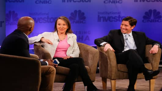 Esther Dyson and Scott Kupor with CNBC moderator Jon Fortt at Delivering Alpha 2015 in New York.