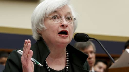Federal Reserve Board Chairwoman Janet Yellen testifies before a House Financial Services committee hearing July 15, 2015.