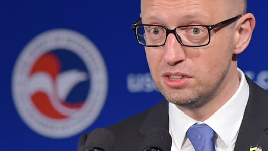 Ukrainian Prime Minister Arseniy Yatsenyuk speaks at the first U.S.-Ukraine Business Forum, co-hosted by the U.S. Chamber of Commerce and the Department of Commerce, July 13, 2015, in Washington.