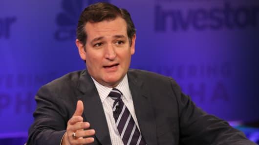 Senator Ted Cruz speaking at Delivering Alpha 2015 in New York.