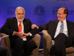 Carl Icahn and Larry Fink at Delivering Alpha 2015 in New York.