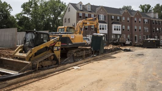 New townhouses are under construction in Northeast Washington, DC.