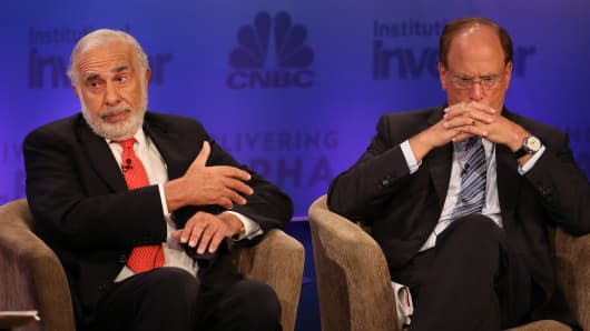 Carl Icahn and Larry Fink at Delivering Alpha in New York.